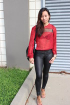 faux leather leggings - leather bag banana republic bag - Sparkle&Fade blouse