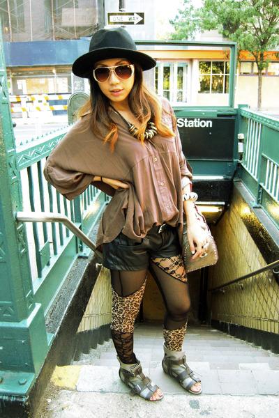 black H&M hat - Forever 21 shirt - black Zara shorts - Forever 21 leggings - Urb