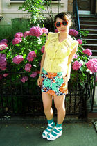yellow random top - Forever 21 skirt - alice  olivia for Payless shoes