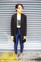 cropped H&M top - H&M shoes - black H&M blazer - American Apparel pants