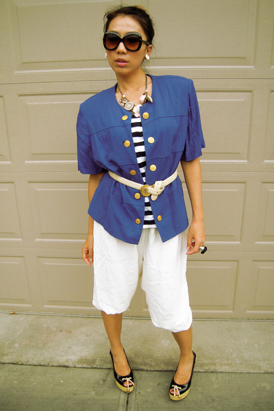 blue Salvation Army blazer - white Salvation Army pants - Forever 21 necklace -