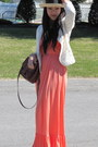 Salmon-maxi-dress-forever-21-dress-neutral-straw-hat-thrifted-hat