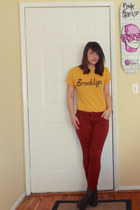 mustard Burkina NYC shirt - maroon Fire LA pants