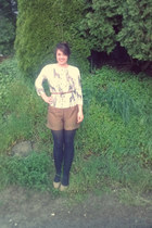 light brown H&M shorts - ivory Anthropologie cardigan