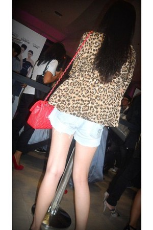 leopard print blazer - red quilted Chanel bag - shorts