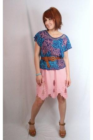 crochet detail thrifted vintage skirt - braided leather Thrift Store belt