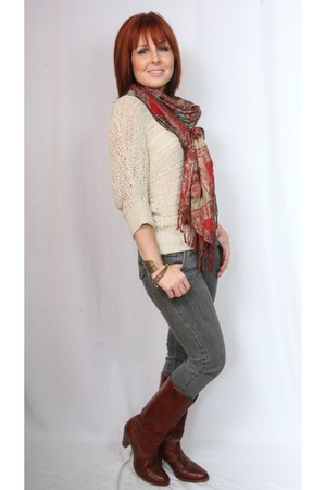 vintage Dingo boots - Forever 21 jeans - Forever 21 sweater - Forever 21 scarf