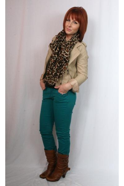 faux leather Forever 21 jacket - leather Aldo boots - delias jeans