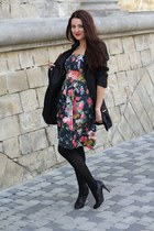 olive green Zara dress - black shoes - black Miss Sixty coat