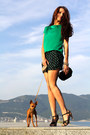 Black-fornarina-shorts-green-mango-blouse