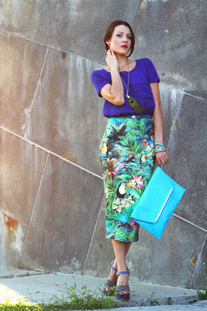 teal asos skirt - blue Carvela shoes - aquamarine asos bag - navy Mango blouse