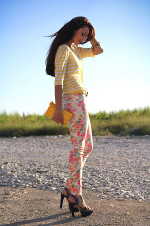 salmon New Yorker jeans - violet Carvela shoes - yellow Fiorelli bag