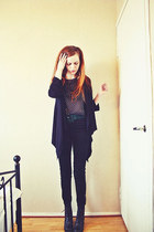 90s second-hand Inspir boots - studded chiffon DIY blouse - suede second-hand be