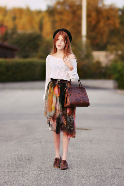 second hand shirt - second hand bag - romwe skirt - second hand belt