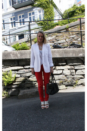 white Zara shoes - white GINA TRICOT blazer - black Armani Exchange bag