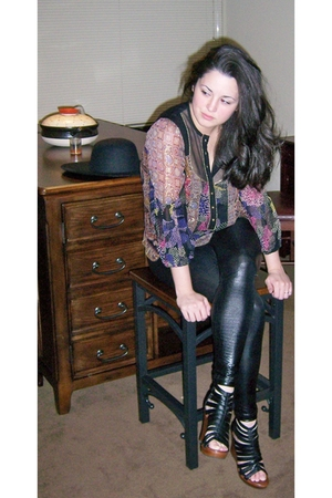 black Nanette Lepore shirt - black American Apparel leggings - black Jeffrey Cam