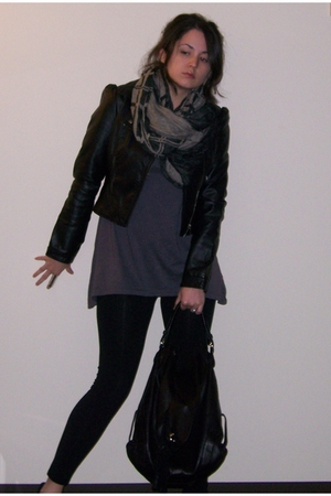 H&amp;M jacket - deena and ozzy scarf - Fluxus t-shirt - Forever 21 leggings - Candi