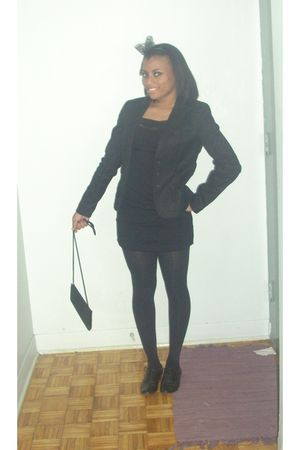 black united colors of benetton blazer - black Guess dress - black Aldo shoes -