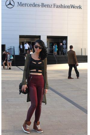 crimson paneled H&M pants - black leather Aldo purse - brown wedge Aldo sneakers
