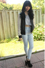 leather varsity danier jacket - solitaire print Nasty Gal jeans