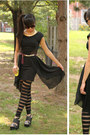 Black-asymmetrical-sway-chic-dress-black-stitches-tights