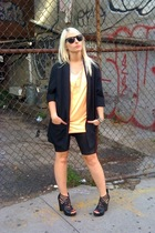 vintage blazer - rainbow t-shirt - Forever21 shorts - Dolce Vita Zeus shoes