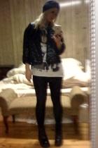 jacket - Evidence of Evolution t-shirt - skirt - xhiliration stockings - Candies