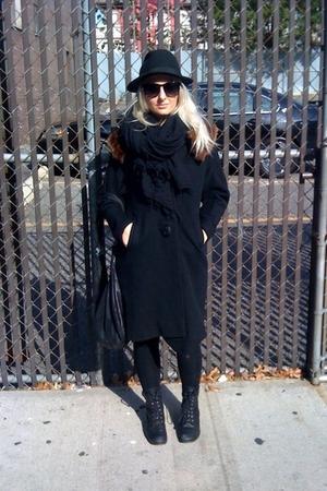 from paris hat - vintage coat - tights - DV Sophia boots - Chan Luu scarf