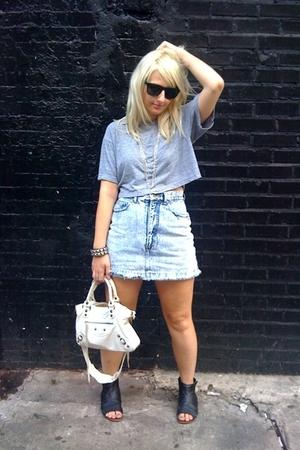 American Apparel t-shirt - vintage shorts - balenciaga purse - DV by dolce vita