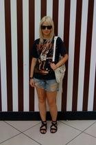 vintage ACDC t-shirt - Vintage Levis shorts - balenciaga purse - Dolce Vita shoe