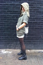 green vintage jacket - black vintage Sketchers boots - black tights
