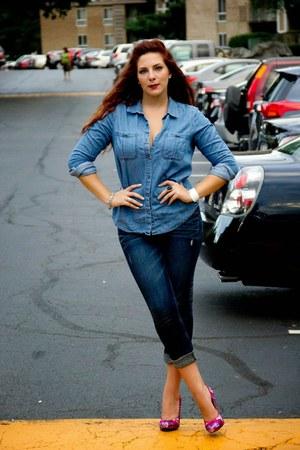 blue chambray Express shirt - navy boyfriend jeans Express jeans