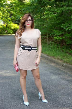 nude mini dress H&M dress - salmon clutch unknown brand purse