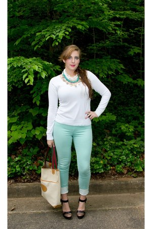 mint jeggings Cabi jeans - white sweater BLANCO sweater - Gucci bag