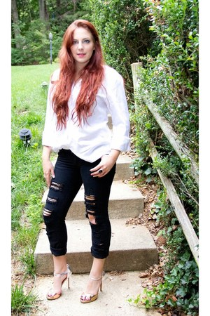 white white button up banana republic shirt - black Forever 21 jeans
