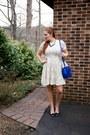 Off-white-lace-dress-bobeau-dress-blue-crossbody-danielle-nicole-bag