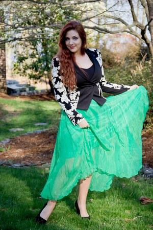 green chiffon I Heart Aardvarks skirt - black floral print rachel roy blazer