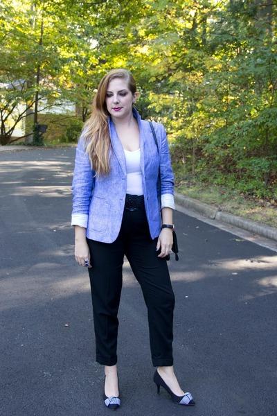 sky blue linen talbots blazer - black clutch Danielle Nicole bag