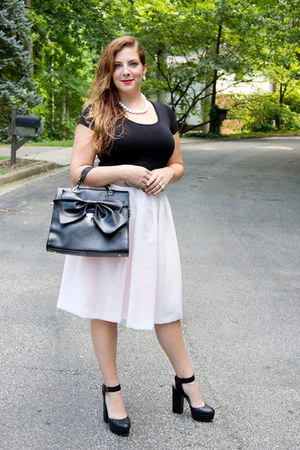 eggshell chiffon handmade skirt - black bow Chictopia bag