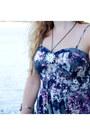 Light-purple-maxi-dress-piperlime-dress-black-medallion-vintage-necklace