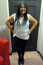 white Zara shirt - black Zara leggings - black Forever 21 shoes