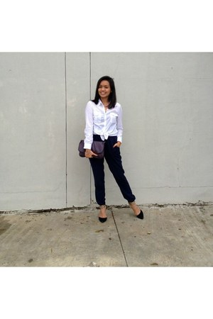 deep purple bench bag - navy Forever 21 pants - white blouse - black heels