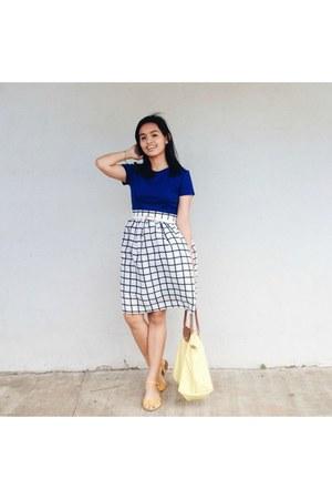 light yellow longchamp bag - navy Forever 21 blouse