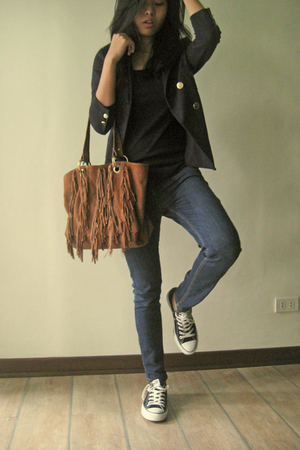 Cotton school blazer Topshop SNG - Fringed bag Topshop MNL - &hearts  Chuck Tayl