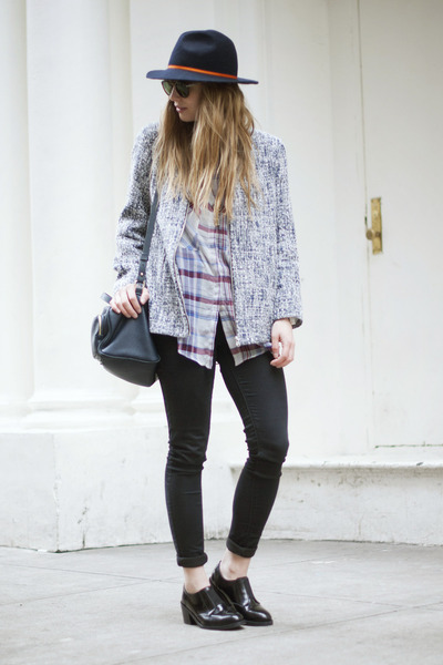 Topshop shoes - Topshop hat - Topshop jacket - Zara bag - Zara blouse