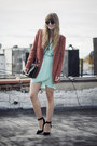 Honey-punch-dress-zara-blazer-coach-bag-shoemint-heels