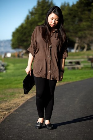 brown cotton Forever 21 blouse - gold Forever 21 necklace