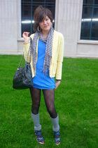 yellow vintage - blue Agent 99 dress - gray Aussie Sox - blue Pulp