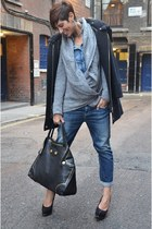 Alexander McQueen bag - guess by marciano coat - Guess jeans - Guess shirt