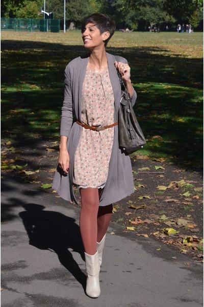 orion london dress - Calzedonia tights - calvin klein bag - H&M cardigan